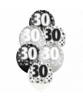 Black Glitz 30 All Over Print Party Balloons 6pk