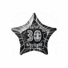 Black Glitz Star 30 Foil Party Balloon