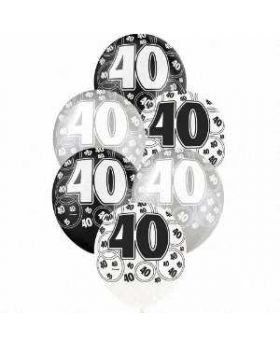 Black Glitz 40 All Over Print Party Balloons 6pk