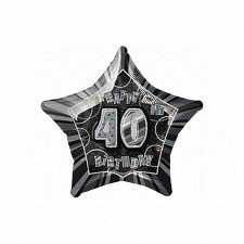 Black Glitz Star 40 Foil Party Balloon