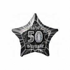 Black Glitz Star 50 Foil Party Balloon