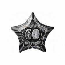 Black & Silver Glitz Star 60 Foil Party Balloon