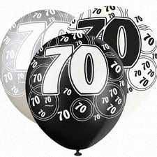 Black Glitz 70 All Over Print Party Balloons 6pk