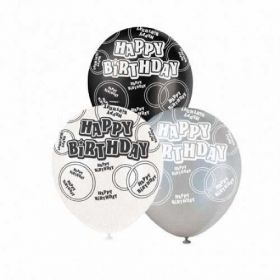 Black Glitz Happy Birthday All Over Print Party Balloons 6pk