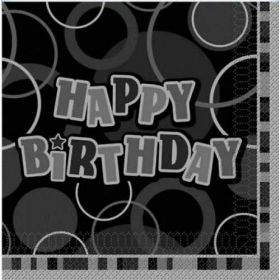 Black Glitz Happy Birthday Luncheon Party Napkins 16pk