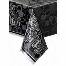 Black Glitz Party Plastic Tablecover