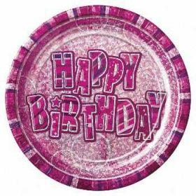 Pink Glitz Prismatic Party Plates 8pk