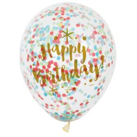 Glitzy Gold Confetti Latex Balloons