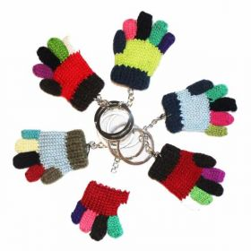 Small Multicoloured Knitted Glove Keyring