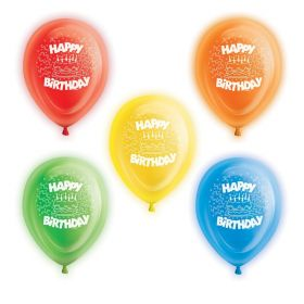 Happy Birthday Light Up Balloons, pk5