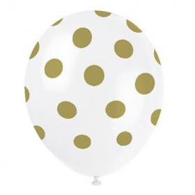 """Gold Polka Dot Latex Balloons 12"""""""
