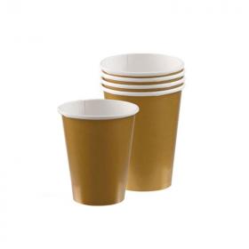Gold Paper Cups 266ml, pk8