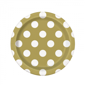 Gold Polka Dot Paper Plates 18cm, pk8