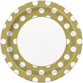 Gold Polka Polka Dot Paper Plates 23cm, pk8