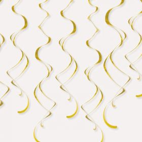 Gold Plastic Hanging Swirls 66cm, pk8