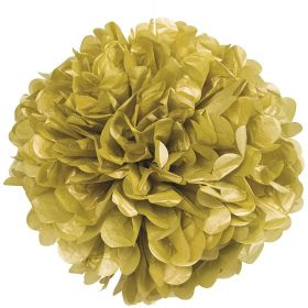 Gold Paper Puff Ball Party Decoration 40cm
