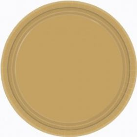Gold Paper Party Plates 17.7cm 8pk