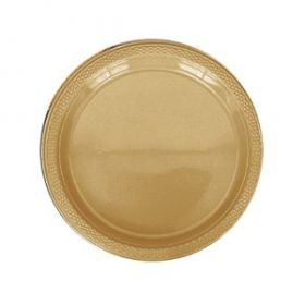 Gold Plastic Party Plates 20pk 22.8cm