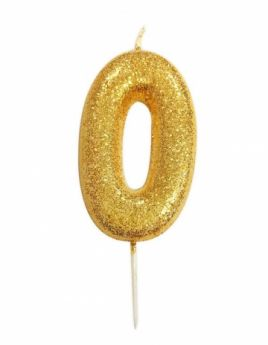 Number 0 Glitter Numeral Gold Moulded Candle