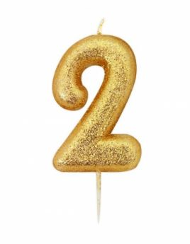 Number 2 Glitter Numeral Gold Moulded Candle