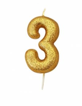 Number 3 Glitter Numeral Gold Moulded Candle