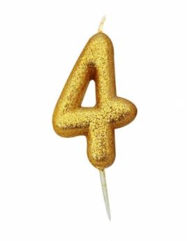 Number 4 Glitter Numeral Gold Moulded Candle