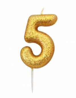 Number 5 Glitter Numeral Gold Moulded Candle