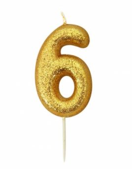 Number 6 Glitter Numeral Gold Moulded Candle