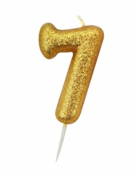 Number 7 Glitter Numeral Gold Moulded Candle