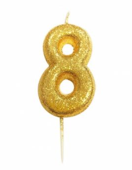 Number 8 Glitter Numeral Gold Moulded Candle