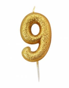 Number 9 Glitter Numeral Gold Moulded Candle