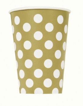 Gold Polka Paper Cups 12oz pk6