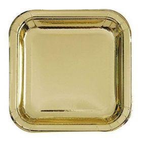 """Gold Foil 7"""" Square Plates pk8"""