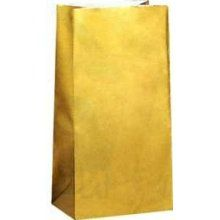Gold Paper Party Bags 10pk