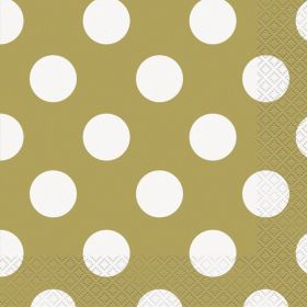 Gold Polka Luncheon Napkins, 16pk, 2ply