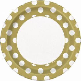 "Gold Polka Paper Plates 9"" pk8"