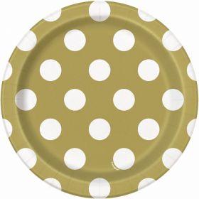 "Gold Polka Paper Plates 7"" pk8"
