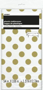 "Gold Polka Plastic Tablecover 54""x108"""