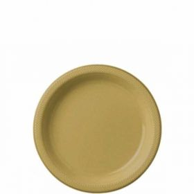 Gold Sparkle Plastic Party Plates 17.7cm 20pk