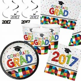 Graduation Fractal Fun Ultimate Party Supplies Kit for 16