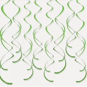 Lime Green Plastic Hanging Swirls 66cm, pk8
