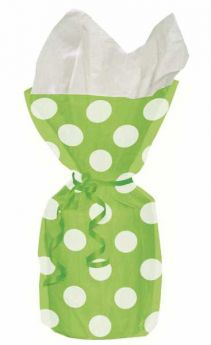Lime Green Polka Dot Party Cello Bags 20pk