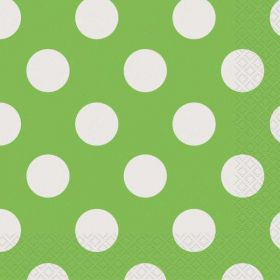 Lime Green Polka Dot Party Napkins 16pk