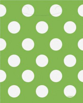 Lime Green Polka Dot Party Loot Bags 8pk