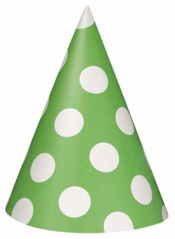Lime Green Polka Dot Party Hats 8pk