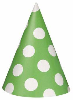 Lime Green Polka Dot Party Hats 8pk