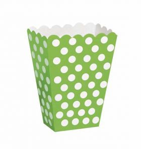 Lime Green Polka Dot Party Treat Boxes 8pk