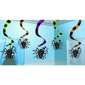 Gruesome Group Spiders Hanging Swirl Decoration