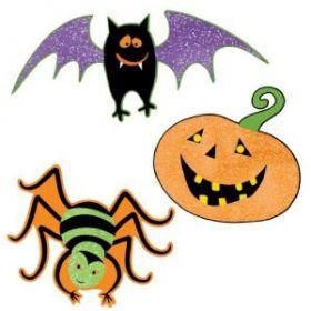 Halloween Gruesome Group Mini Glitter Cutouts 10pk