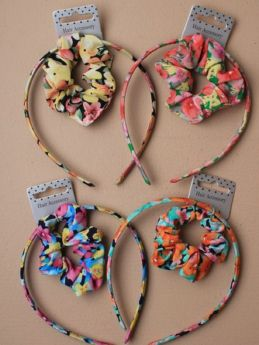 Floral printed fabric aliceband with matching scrunchie